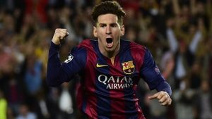 Lionel Messi celebrates after scoring a brace in his sides 3-0 win over Bayern Munich                            Picture Credit : AFP/Getty Images