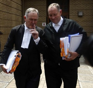 Barry Roux and Kernny Oldwage Outside the North Gauteng High. Photo: Sowetanlive