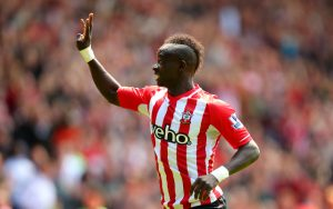 Sadio Mane celebrates scoring his hat-trick goal against Aston Villa.                   Picture Credit : Caught Offside