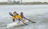 Hank McGregor and Siseko Ntondini during the 2016 K2 SA Canoe Marathon Championships in Zandvlei, Cape Town. Photographer: John Hishin / Gameplan Media