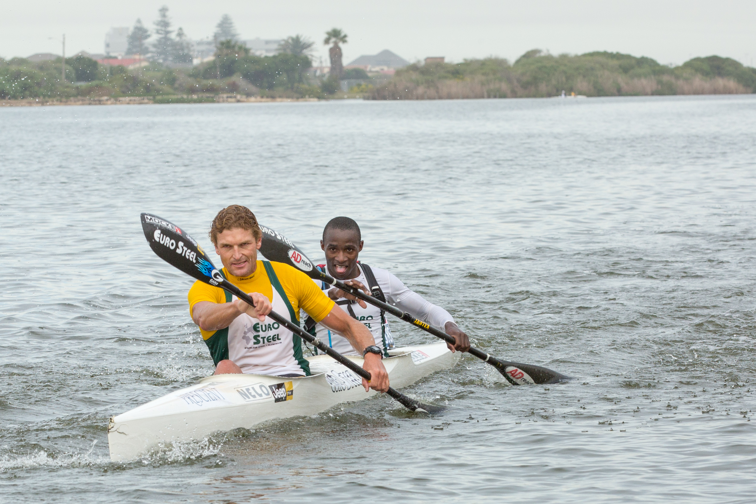 Hank McGregor and Siseko Ntondini during the 2016 K2 SA Canoe Marathon Championships in Zandvlei, Cape Town. Photographer: John Hishin / Gameplan Media