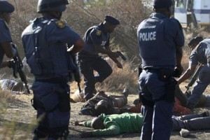 This is one of the chilling images of the aftermath of the shooting that left 34 people dead at the hands of police at the Lonmin platinum mine in Marikana, Rustenburg. – image - www.amandla.org.za