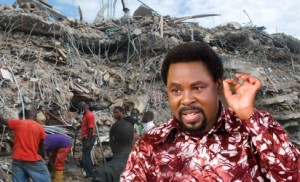 Preacher T. B. Joshua With His Collapsed Synagogue in the Background. Image: Vanguardngr.