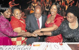 President Jacob Zuma (centre) and his wives (from left) Bongi Ngema, MaNtuli Zuma, Tobeka Madiba-Zuma and MaKhumalo Zuma when he celebrated his seventieth birthday. – image - www.timeslive.co.za