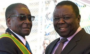 Incumbent President Mugabe on the left And Opposition leader Morgan Tswangirai on the right.  Image: The Guardian.