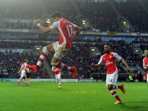 Alexis Sanchez celebrates after scoring against Hull City.                                  Picture Credit : Arsenal.com