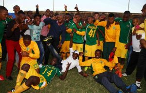 Golden Arrows celebrate after winning promotion to the PSL.                                  Picture Credit : Steve Haag