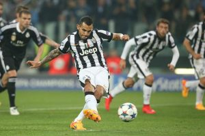Carlos Tevez scores the winning goal in his side's  2-1 win over Real Madrid. Picture Credit : Uefa.com