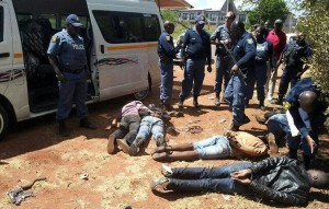 The scene of the arrests of the six men who robbed a Vodacom shop in the Centurion Mall. Image: ENCA.
