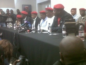The executive leadership of the EFF includes (from right to left) Floyd Shivambu, Julius Malema, Mpho Ramakatsa and Kenny Kunene. – image – publicnewshub.com