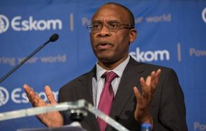 Eskom CEO, Tsediso Matona at the press conference. Image: The Sunday Times.