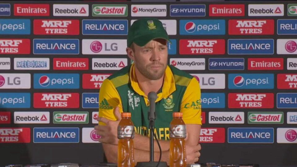 Captain AB de Villiers as he speaks to the media after the 130 run loss to India. Image: www.espncricinfo.com