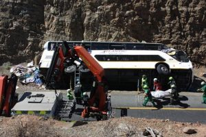 The bus which plunged into a cliff in the Western Cape. Three people were killed and twenty six were injured.  Image: News24