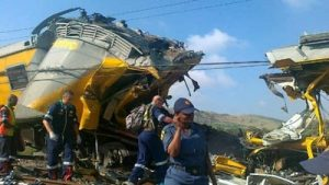 Metrorail train which crashed at Denver station in Johannesburg.  Image: SABC