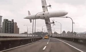 The TransAsia plane as it crosses the freeway and clips the taxi enroute to the Taipei river Image: NBC