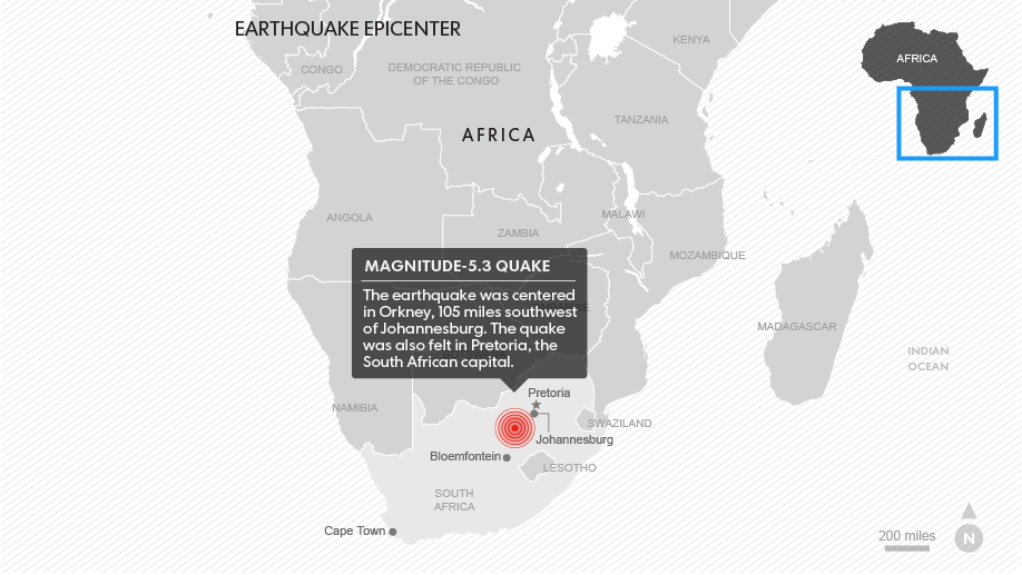 One man died after a 5.3 magnitude earthquake hit South Africa.