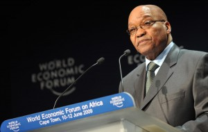 Jacob Zuma addresses the World Economic Forum on Africa days after being inaugurated South Africa's fourth president despite massive corruption charges hanging over his head. Image: Wikimedia.