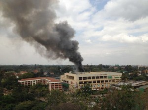 Smoke above the Westgate Mall in Nairobi, Kenya where terrorists entered and started shooting patrons at random on Saturday. On Monday, the attackers blew holes that may be used as exits around the mall. – image - online.wsj.com