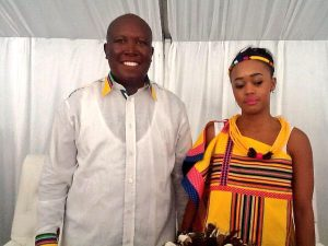 Malema and his sweetheart Mantwa Matlala after exchanging their vows in Limpopo.  Image: ZimEye