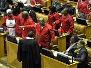 Malema refuses to leave Parliament despite a request from Sergeant-at-arms, Regina Mohlomi Image: Jakaranda Fm.