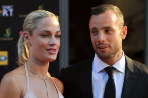 "Oscar Pistorius, right with Reeva Steenkamp. He was convicted of culpable homicide after shooting her on 14 February, 2013. The prosecution believes both conviction and sentence are ""shockingly light"" and are appealing.  Image: The Mirror."
