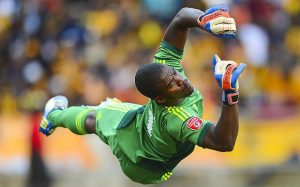 Bafana Bafana and Orlando Pirates goalkeeper Senzo Meyiwa in action. He was shot dead at girlfriend, Kelly Khumalo's house in Vosloorus.  Image: The Telegraph.
