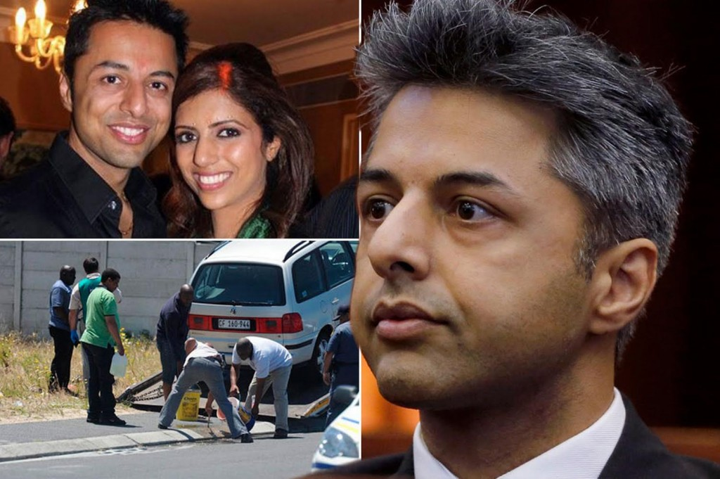 Top left, in happier times, Shrien and Anni, right, Shrien at the trial in Cape Town and bottom left, at the scene of the crime in 2010 with the car in which Anni was shot. Image: UK Mirror.