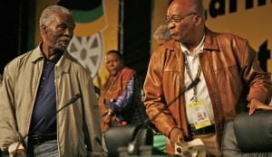 Former President Thabo Mbeki, left and Incumbent President Jacob Zuma. The Spy Tapes Release Could Spell Doom for Both Men.  Image: Daily Maverick