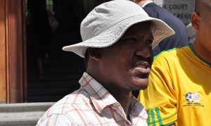 The faeces man, Andile Lili, insulted the magistrate at the Bellville magistrate court after being denied bail. Image: Eyewitness