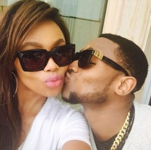 Bonang Matheba and D'Banj in one of the photos taken at D'Banj's home in Nigeria that has caused quite a stir on social media. Image: TimesLive.