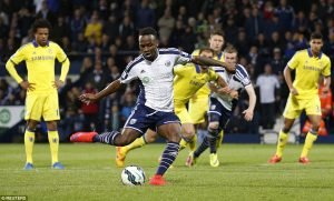 Saido Berahino scores his 2nd goal in his team's 3-0 win over Chelsea.                          Picture Credit : Daily Mail UK
