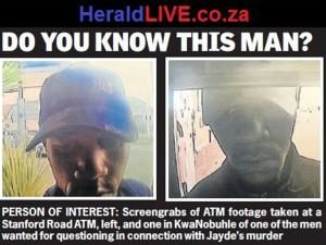 "The picture of the man who the police call ""a man of interest"" who is suspected of having abducted Jayde Panayiotou from outside her complex.  Image: HeraldLive"