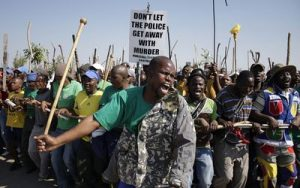 Miners striking against Marikana violence Pic: BDlive