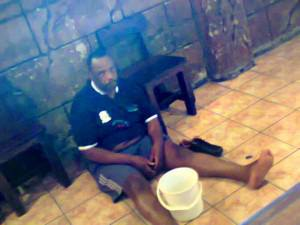 Sedibeng district executive mayor Mahole Simon Mofokeng fell at a bar because he was allegedly drunk and he had to be assisted by those around him just to get back on his feet. Photo Vaal Metro News.