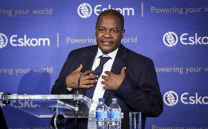 Eskom CEO, Brian Molefe as he addresses the press conference where he announced his decision.. Photo : EWN