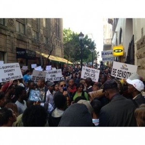 The people of Cape Town came out to protest the poor treatment of a blind musician by police. – image – news24.com
