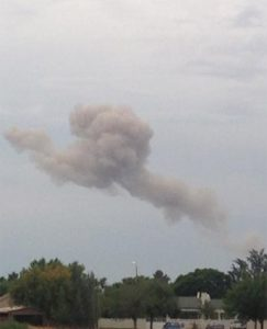 Smoke is seen billowing in the background of Welkom after the Methane explosion that rocked the small town. Image: News24