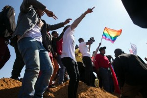 The gay and lesbian friends of Duduzile Zozo sang at her grave earlier this month. Archbishop Emeritus Desmond Tutu spoke out against homophobic violence on Friday. – image –mg.co.za
