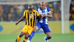 Willard Katsande of Kaizer Chiefs is challenged  by Kurt Lentjies of Maritzburg United during the MTN8 Quarter Final between Kaizer Chiefs and Maritzburg United on 05 August 2015 at FNB Stadium Pic Sydney Mahlangu/ BackpagePix