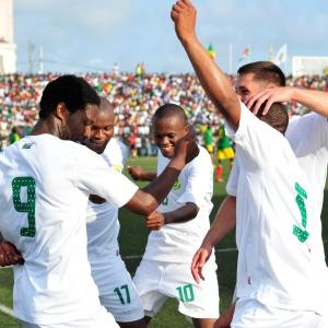 Bafana players celebrate a goal in Congo Brazaville on Saturday. Image: Supersport.