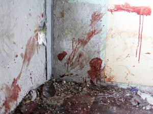 Blood-covered walls allude to the horrendous beheading of a young boy. Image by Cape Argus