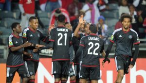 Menzi Masuku of Orlando Pirates celebrates a goal with teammates during the CAF Confederation Cup match between Orlando Pirates and CS Sfaxien on 08 August 2015 at Orlando Stadium Pic Sydney Mahlangu/ BackpagePix