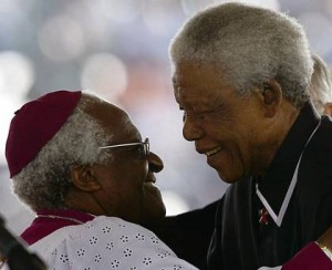Nelson Mandela and his long-time friend Archbishop Emeritus Desmond Tutu share a smile. – image - www.independent.ie