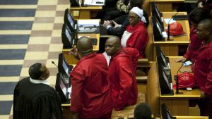 EFF MPs in court. Their suspension has been lifted by a ruling by Judge Dennis Davis. Image: Mail & Guardian.