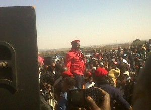 Julius Malema addressing the crowd at the EFF rally in Sebokeng on Saturday. – image – publicnewshub.com