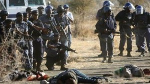A scene from a massacre! After the August, 2012 shooting. Photo: SABC.