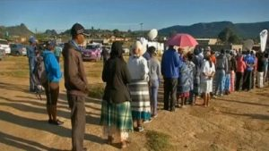 People queue to vote in Lesotho on 28 February. This led to a change of government after the opposition formed a coalition and ushered in Former Prime Minister Mosisili.  Image: SABC News