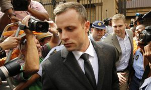 Oscar Pistorius at the Pretoria High Court. Image: The Guardian.