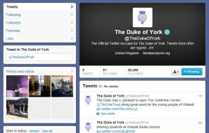 Prince Andrew becomes the first member of the Royal Family to subscribe to Twitter. – image – twitter.com