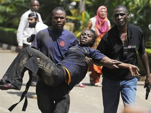 A scene from the attack at the Garrissa University in Kenya.  Image: www.blurredculture.com